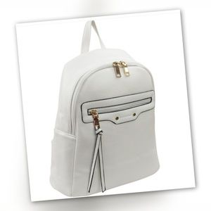 Faux Leather White backpack